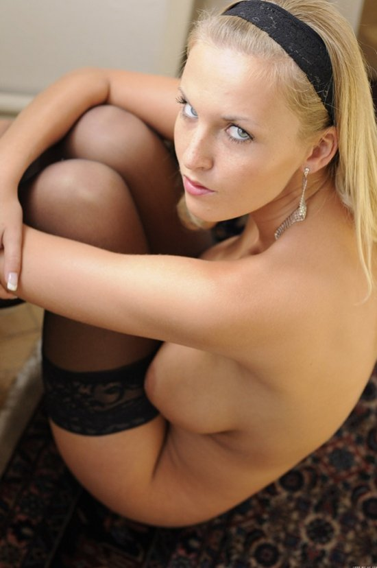 Hot naked blonde in lingerie