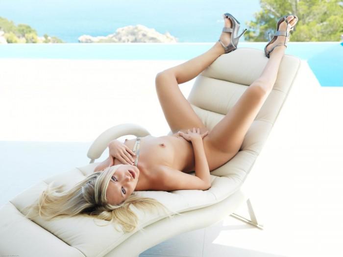 Hot Teen Blonde posing outside