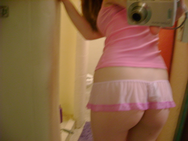 Naughty Blonde Teen Pink Panty Selfie