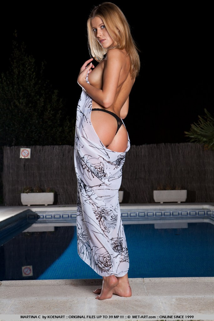 Sexy Blonde Teen Martina C Posing by the Pool