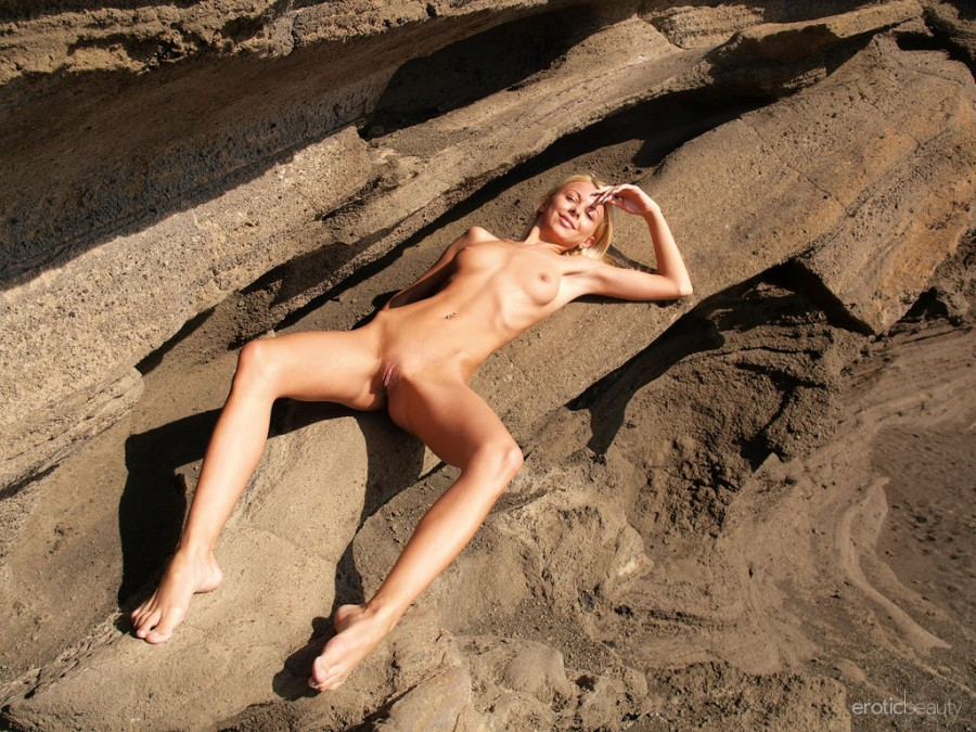 Naughty Blonde Judit in Sandy Oasis by Jan Vels